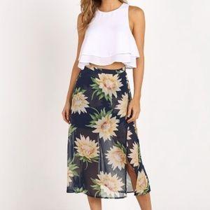 Show Me Your Mumu Sunflower Sheer Midi Skirt S